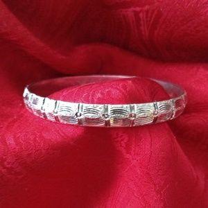 Sterling Repousse Bangle Hinged Bracelet